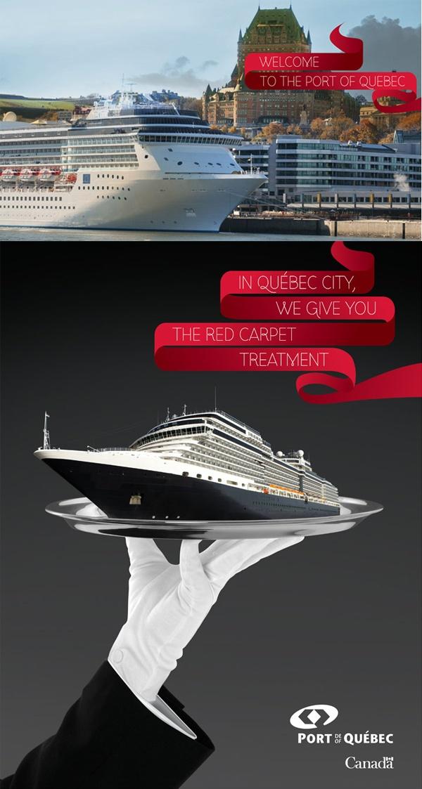 Client : Port de Québec - Affichage et pavoisement, conception-rédaction, campagne publicitaire imprimée, design graphique, image de marque, photographie.