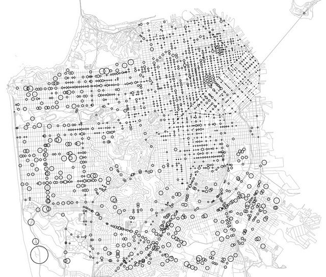 san francisco pedestrian injury risk map  with base map