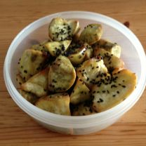 Candied Roasted Sweet Potatoes with Black Sesame Seed