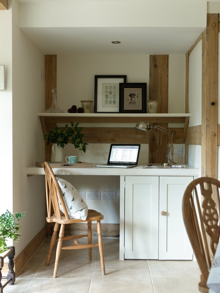 a little nook for paperwork - study area in an oak framed cottage #oak #office #nook exposed oak beams, home office, fitted units, porcelain floor tiles,