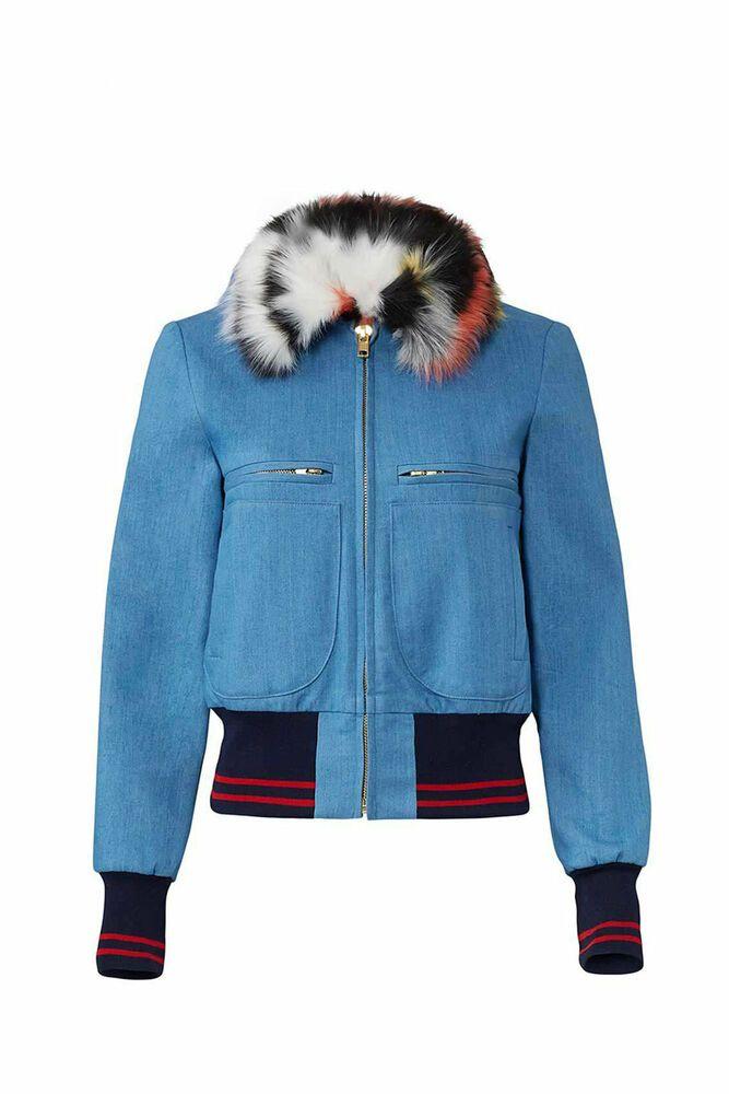 Ebay Ad Harvey Faircloth Blue Women S Size 10 Faux Fur Collar Bomber Jacket 550 450 Denim Bomber Jacket Faux Fur Bomber Jacket Denim Jacket Women