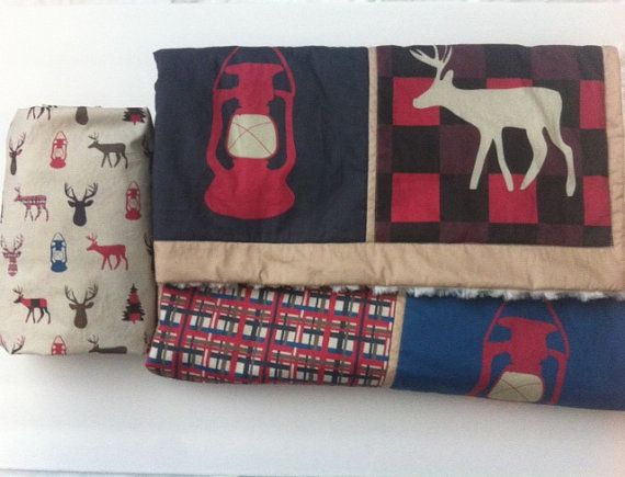 Happy Camper crib or toddler bed quilt and fitted crib by TaTaBull/ woodland camping nursery