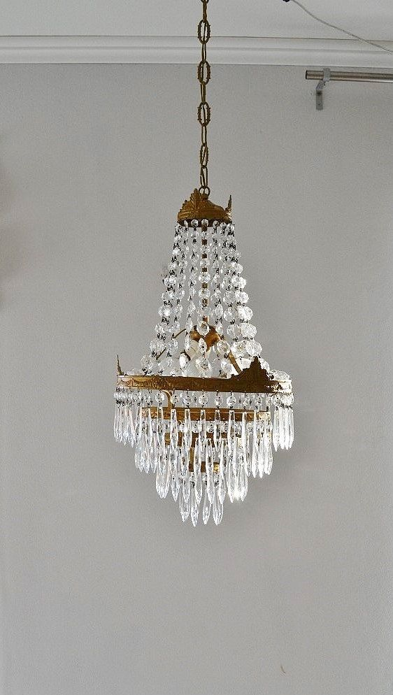 Vintage CHANDELIER mid century EMPIRE style old by VintageofItaly