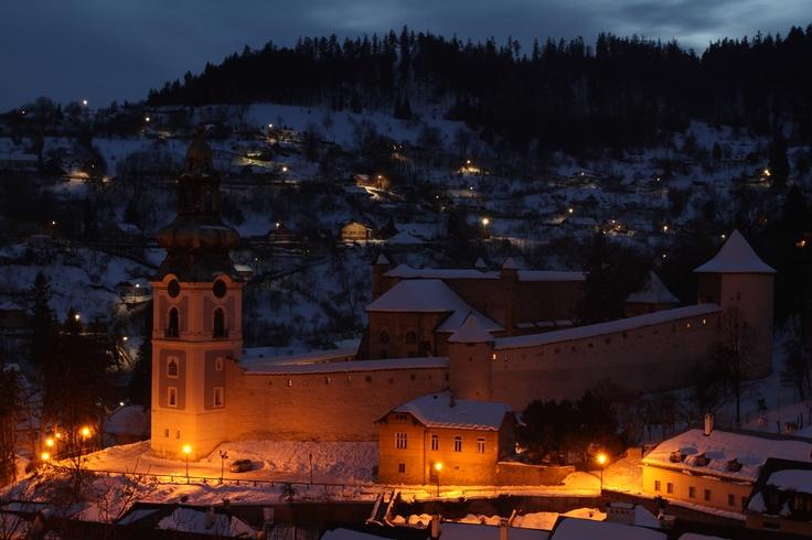 Banska Stiavnica , old castle at night