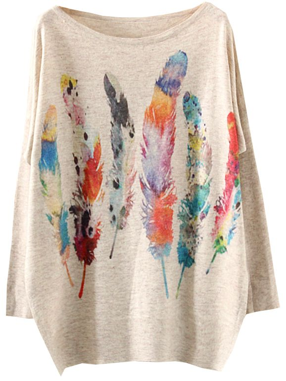 Celebrate Christmas time with all of these funny sweater designs. Perfect for gifts this season! Batwing Sleeve Feather Print Knitwear, 100% Quality Guarantee!