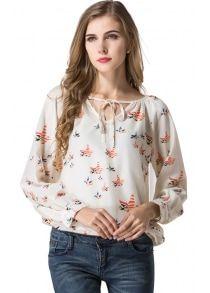 Blouse Women Shirt Top Long Sleeve Women Chiffon Blouse Shirt Casual Clothing Lady Flower Printed Blouses