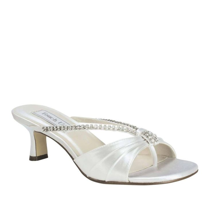 Details about WIDE WIDTH Bridal Wedding White Satin Jewel Low Heel