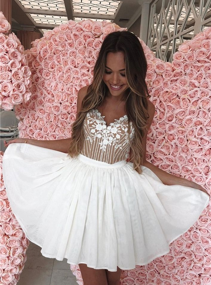 8ae8218208d A-Line Spaghetti Straps Above-Knee White Homecoming Dress with ...