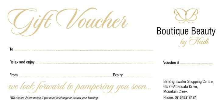 Gift Voucher Design For Boutique Beauty | IDPrint Portfolio | Pinterest | Gift  Voucher Design, Business Cards And Logos  Examples Of Gift Vouchers