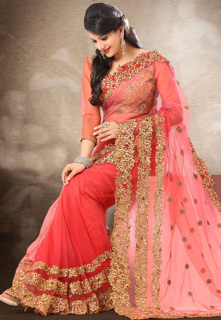 Shaded Old Rose Net #Saree with Blouse