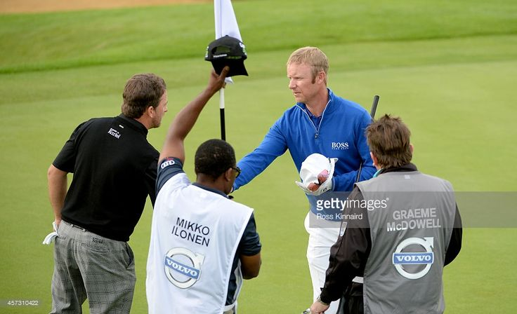 Mikko Ilonen of Finland defeats Graeme McDowell of Northern Ireland 2&1 during the first round matches of the Volvo World Match Play Championship at The London Club on October 16, 2014 in Ash, United Kingdom.