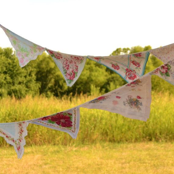 Vintage Hankie Garland Bunting Wedding by VintageResolution, $50.00