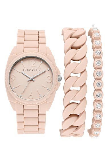 Anne Klein Silicone Bracelet Watch Set, 36mm | Nordstrom