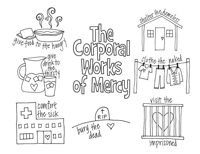 Corporal works of mercy coloring sheet