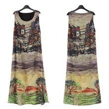 Супер женщины летом пляж рукавов шелк шифон щелевая сарафан длинное платье(China (Mainland))