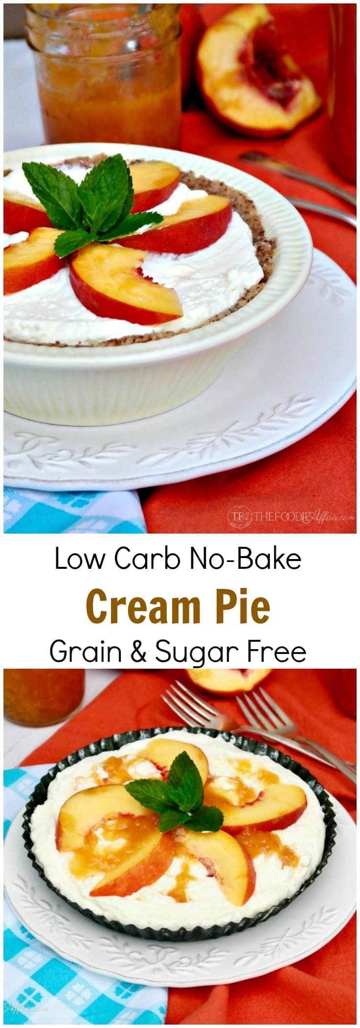 This Low Carb No Bake Cream Pie is grain and sugar free with only 5 carbs per slice. Enjoy each creamy bite as it is or add your favorite topping!