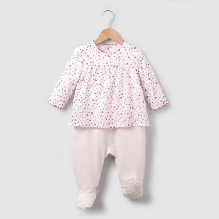 Пижама велюровая с эффектом 2 в 1, 0 месяцев - 3 года розовый/цветочный рисунок R Mini | купить в интернет-магазине La Redoute