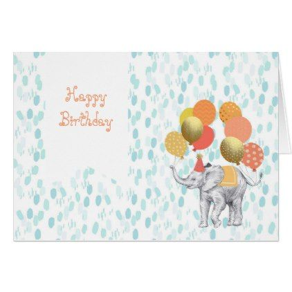 #Circus Elephant Watercolor Happy Birthday Card - #birthday #gifts #giftideas #present #party