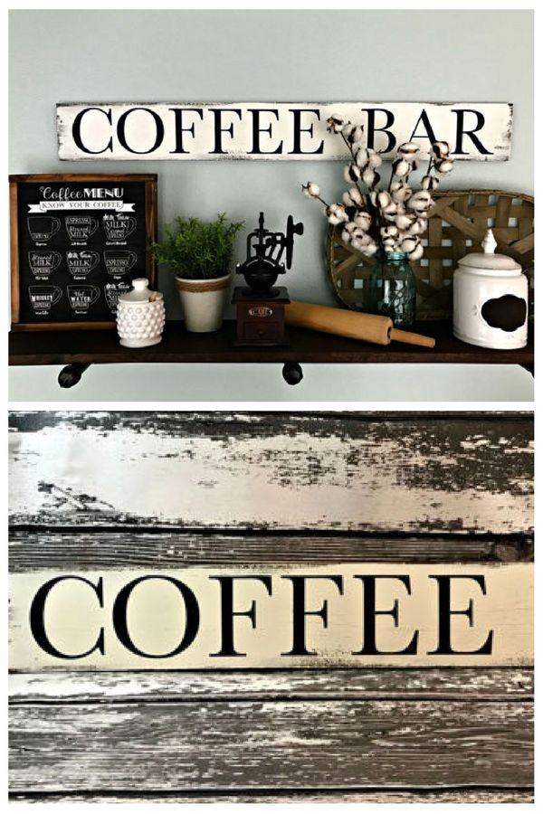 Coffee Sign - Coffee Bar - Coffee Bar Sign - Coffee Decor - Coffee Bar Decor - Kitchen Sign - Kitchen Coffee Sign - Vintage Coffee Sign. | #ad #wood #signs