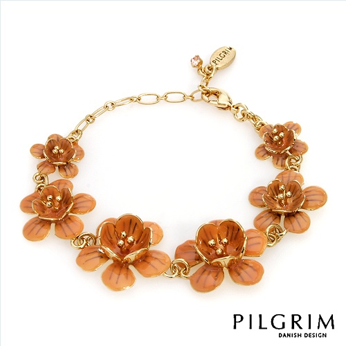 PILGRIM SKANDERBORG, DENMARK Exquisite Brand New Bracelet With Genuine Crystal Beautifully Designed in Yellow Base metal and Brown Enamel. Total item weight 15.6g  - Certificate Available.