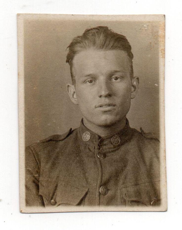 Vintage Photo Handsome Young Man US Soldier Portrait World War - presume and assume