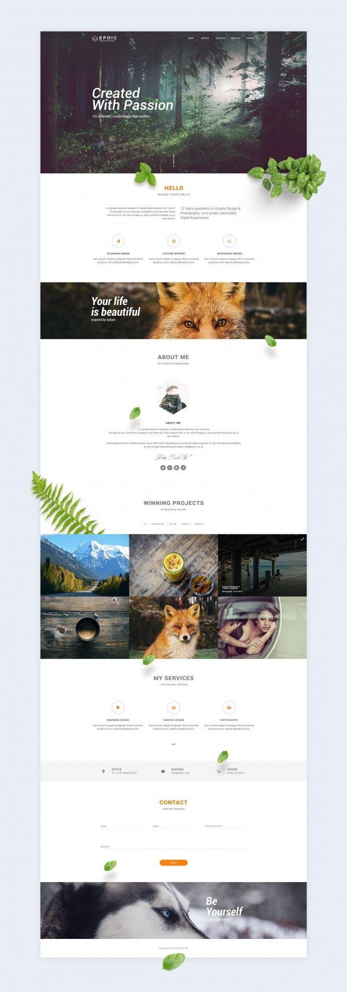 Ephic Template. Green Presentation in Web design