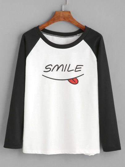 Camiseta manga larga con estampado-Sheinside