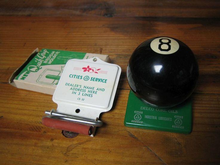 Vintage Original NOS Cities Service Cigar Lighter 8-Ball & Broom Holder Gas Ads  | eBay