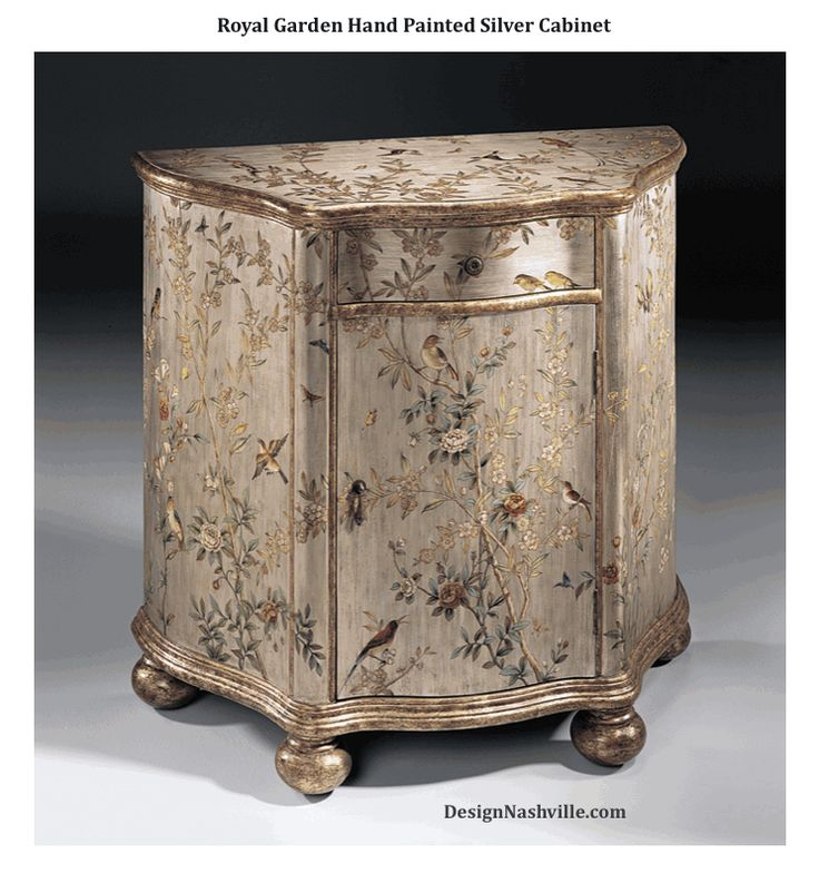 handpainted credenza with floral and bird design on an antiqued silverleaf background antiqued gold accents one drawer one door one shelf inside and