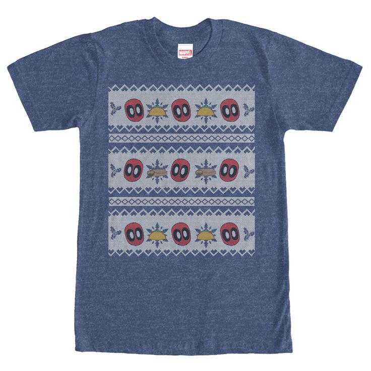 Deadpool Sweater - Santa will have a hard time deciding if Deadpool has been Naughty or Nice this year with the Marvel Deadpool Taco Christmas Sweater Heather Navy Blue T-Shirt. This festive blue Marvel shirt features Deadpool and his beloved tacos in an ugly Christmas