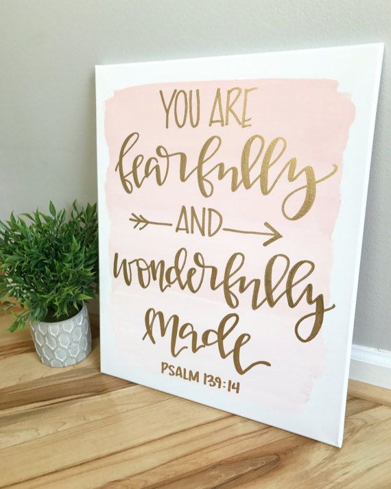 16x20 ombre canvas You are fearfully and wonderfully by ADEprints