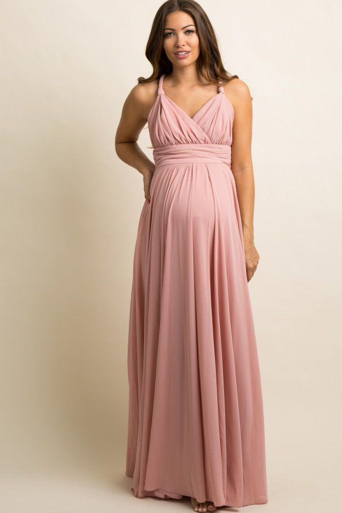5b5d170e9a1f0 Mauve Chiffon Halter Tie Back Maternity Evening Gown   What to Wear ...