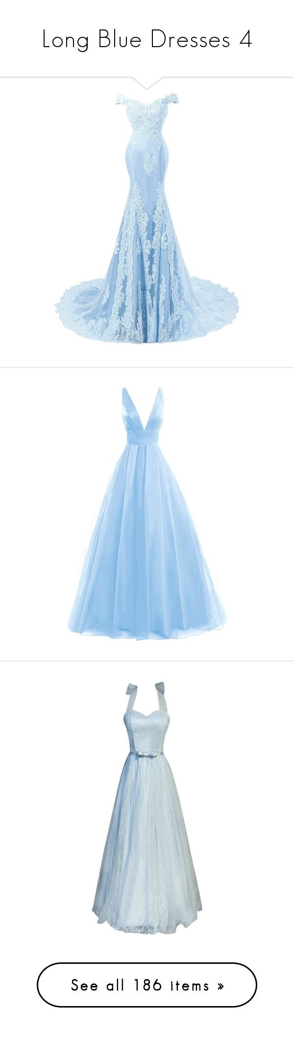 """""""Long Blue Dresses 4"""" by emma-frost-98 ❤ liked on Polyvore featuring dresses, gowns, blue, long dress, lace prom dresses, white beaded gown, long homecoming dresses, blue lace dresses, long prom dresses and gown"""