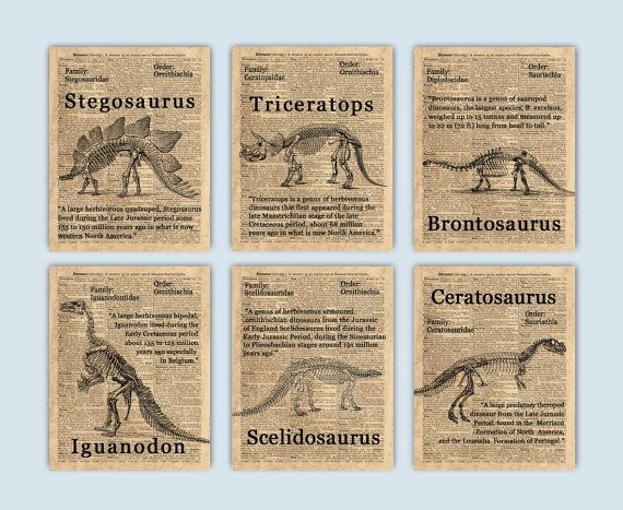 "Set of 6 Dinosaur Skeletons illustrations on a reproduction of an old dictionary page featuring the word ""Dinosaur"".  Iguanodon Stegosaurus Brontosaurus Triceratops Ceratosaurus Scelidosaurus  Please select size and style options from the drop down menu under pricing.  ----------------------------------------SIZE----------------------------------------  >> 5x7 inches, image size is 5x7 inches (12.7x17.8 cm), paper size is 5.8x8.3 inches (14.8x21cm).  >> 8x10 inches, image size is ..."