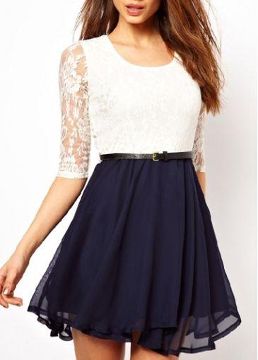 Gorgeous Half Sleeve Color Block A Line Dress