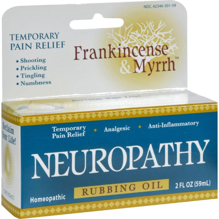 Frankincense and Myrrh Neuropathy Rubbing Oil Description: TEMPORARY PAIN RELIEF Shooting Pain Prickling Pain Tingling Pain Numbness Homeopathic rubbing oil for the temporary relief of symptoms of Neu