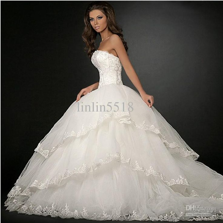 Giant Ball Gown Wedding Dress: Wholesale 2013 Luxury Organza Big Skirt Bride Ball Gown
