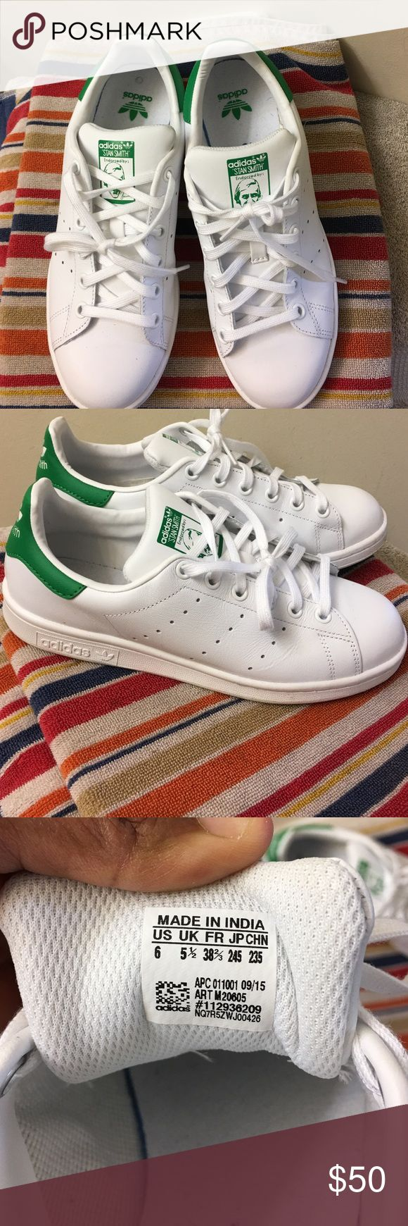 Stan Smith adidas slightly used. Beautiful Stan Smith Adidas tennis shoes in size 6. I'm cleaning out my closet. Lol. Worn 3x. Adidas Shoes Sneakers