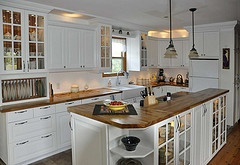 Great ideas with   Ikea Lidingo Cabinets  yes on the plate holder, the island, counters and lights