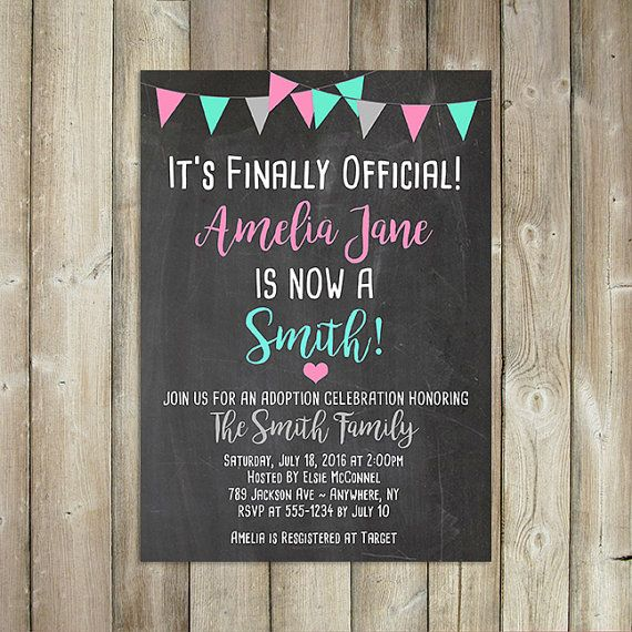 Adoption Celebration Invitation  It's by FavoriteThingsDesign