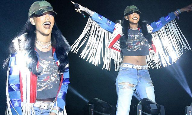 Rihanna hits the stage in tummy-baring top at Coachella
