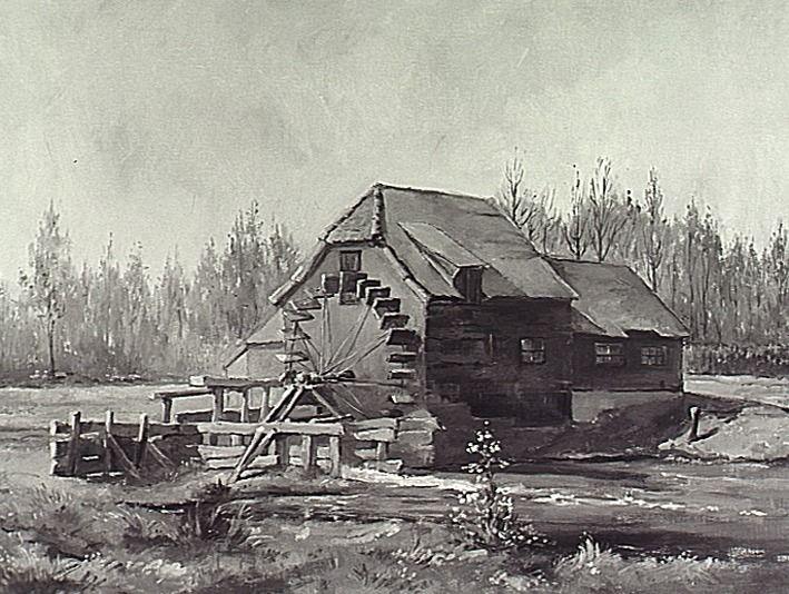 De watermolen te Westerhoven, geschilderd door Karel Vermeeren. 1979 - 1989