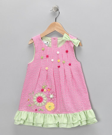 Take a look at this Pink & Green Flower Seersucker Dress - Toddler  by Samara on #zulily today!