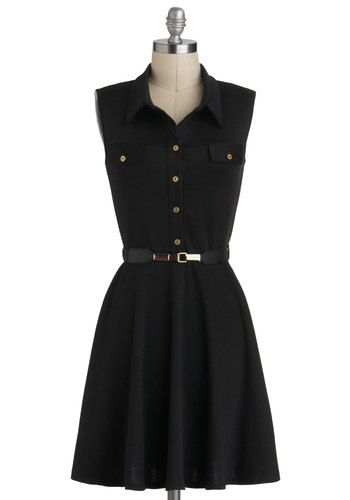 Shirt-dressed for Success - Mid-length, Black, Gold, Buttons, Pockets, Belted, Work, Casual, Menswear Inspired, Shirt Dress, Sleeveless, Collared