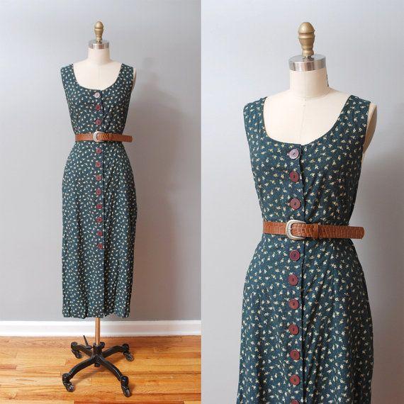 1990s Dress  Evergreen Floral Midi Dress by OldFaithfulVintage, $32.00