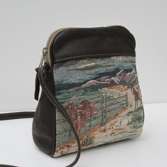 Leather and Fabric SHOULDER BAG Home On The Range by Bizmo