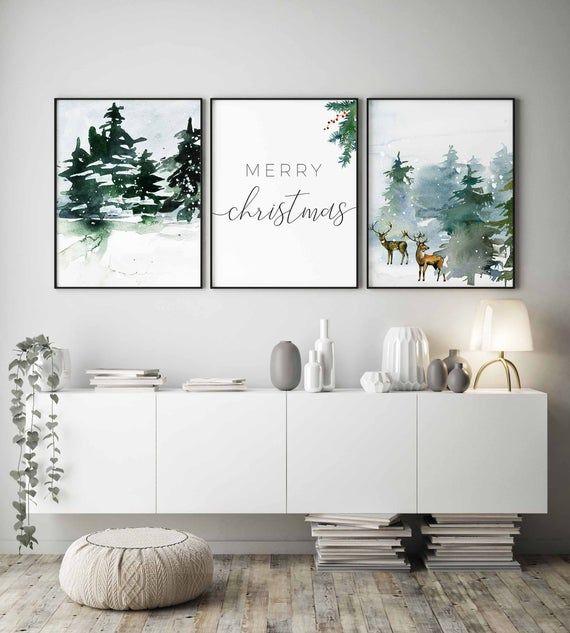 Christmas Wall Artchristmas Printable Setchristmas Etsy Christmas Wall Decor Christmas Wall Art Decor