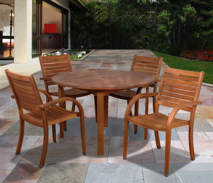 Browse a list of the Best Outdoor Teak Dining Sets!  Amazonia Arizona 5-Piece Eucalyptus Round Dining Set.
