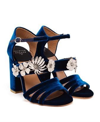 Brand new for this season, Laurence Dacade's 'Jasmine' velvet sandal expertly mixes comfort and versatility with a dash of Parisian chic. Constructed in Italy from midnight blue velvet, they have a stable block heel and eye-catching silver-tone flowers across the arch.
