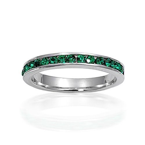 Valentines Day Gifts Bling Jewelry May Birthstone Emerald Color CZ Sterling Silver Eternity Band Bling Jewelry. $19.99. .925 Sterling silver. Band width 3mm. Weighs 1.9 grams. Emerald cubic zirconia. Eternity band
